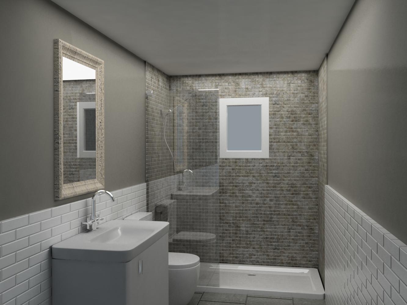 Ba os con azulejos hasta el techo for Alicatar cuarto de bano
